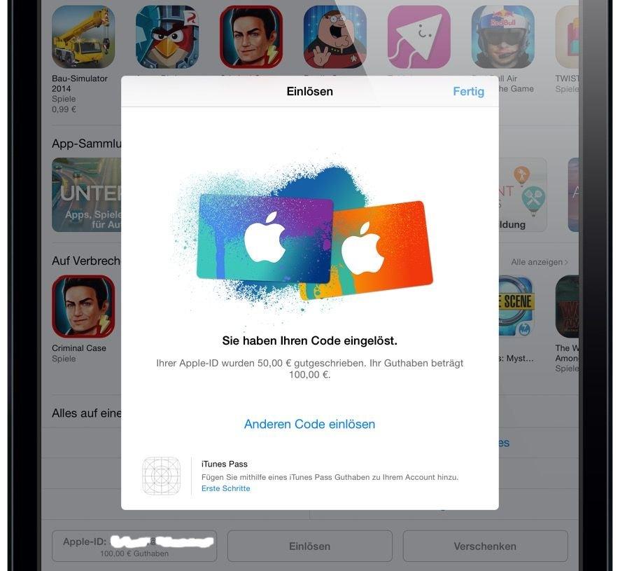 iTunes Karte Geschenkkarte einlösen einscannen iPad 6