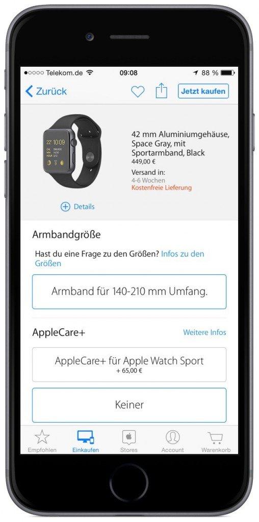 Apple Watch Sport Bestellung Auslieferung Classic Online Verkaufstart 1