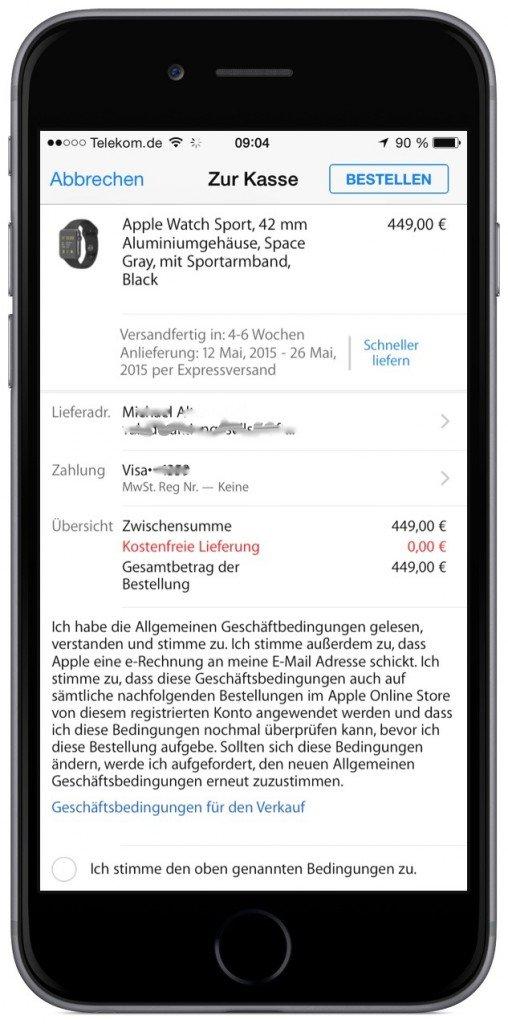 Apple Watch Sport Bestellung Auslieferung Classic Online Verkaufstart 2