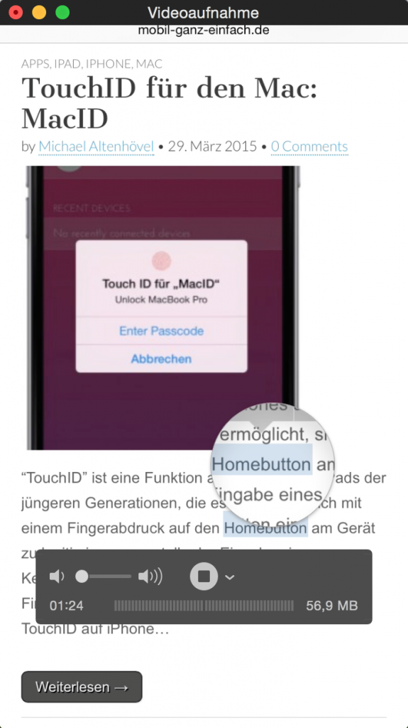 Mac iPhone Video aufnehmen filmen speichern Screencast Bildschirmfilm Display YouTube Vimeo Yosemite 4