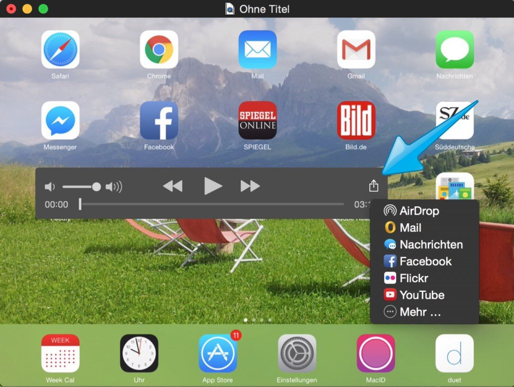 Mac iPhone Video aufnehmen filmen speichern Screencast Bildschirmfilm Display YouTube Vimeo Yosemite 5