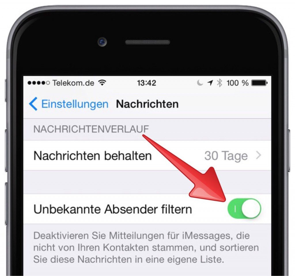 iPhone SMS iMessage Spam Filter Ordner 2
