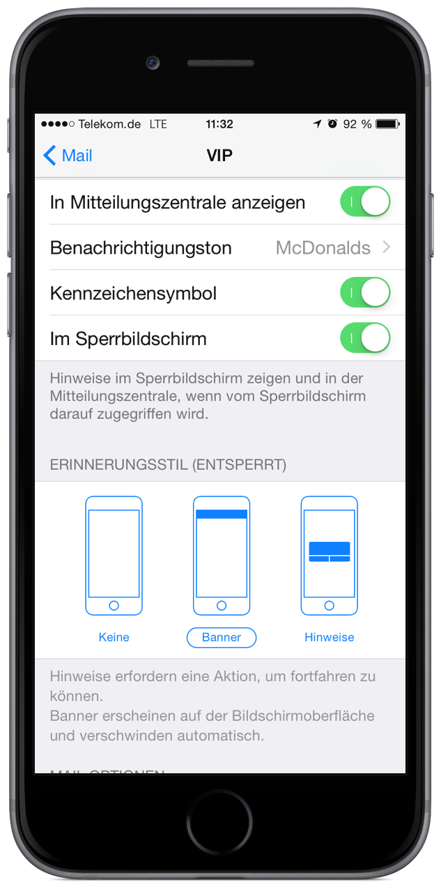 how to get notification for email on iphone 6