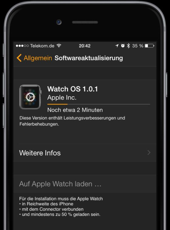 Apple Watch WatchOS Update 1.0.1 Bild2