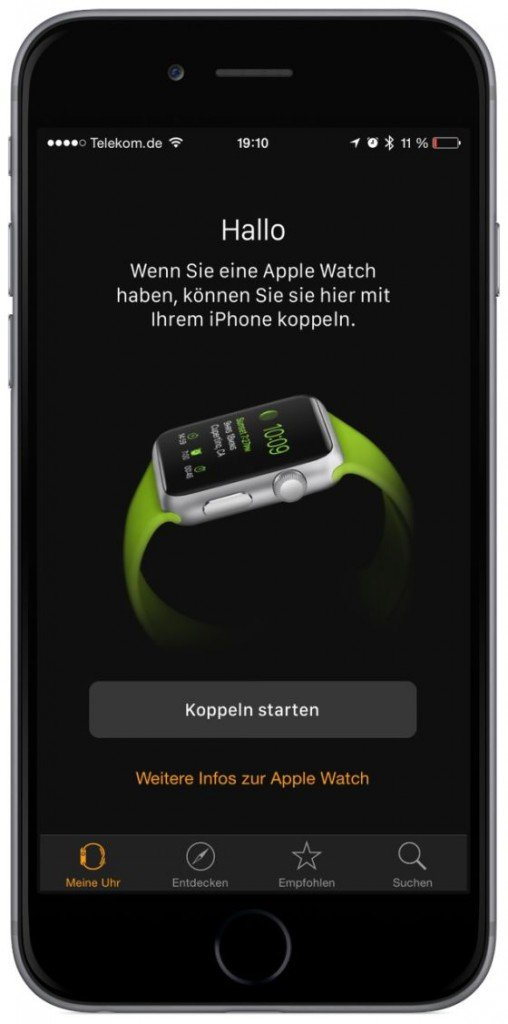 Apple Watch iPhone Koppeln verbinden Krone Watch OS iOS Bluetooth 4