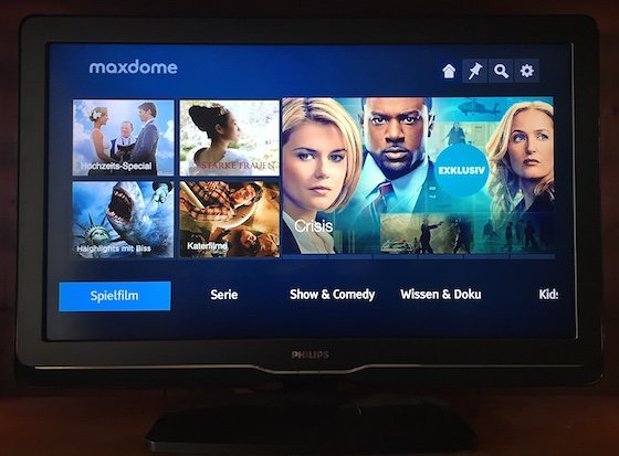 Maxdome Monatspaket App iPhone iPad Android Smartphone Fernseher Entertain Smart-TV AppleTV VoD Video on Demand Videothek Konsole 2