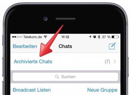 WhatsApp iPhone archiviert Archiv anzeigen 3