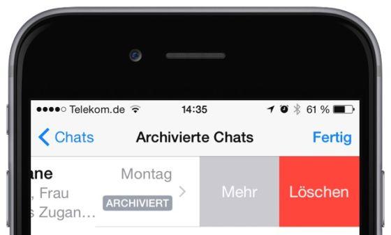 WhatsApp iPhone archiviert Archiv anzeigen rückgängig widerrufen 1
