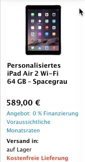 ebay iPad Air 2 spacegrey Sonderangebot billig günstig BB