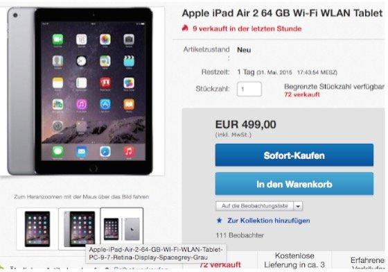 ebay iPad Air 2 spacegrey Sonderangebot billig günstig BB