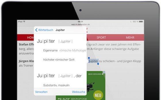 iPad Safari Lexikon Wörterbuch nachschlagen Erklärung Duden 1