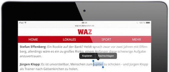 iPad Safari Lexikon Wörterbuch nachschlagen Erklärung Duden 2
