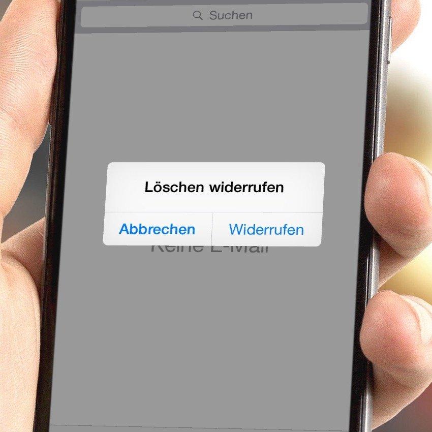 iPhone E-Mail gelöscht Löschung wiederherstellen widerrufen Schütteltrick Löschen 2