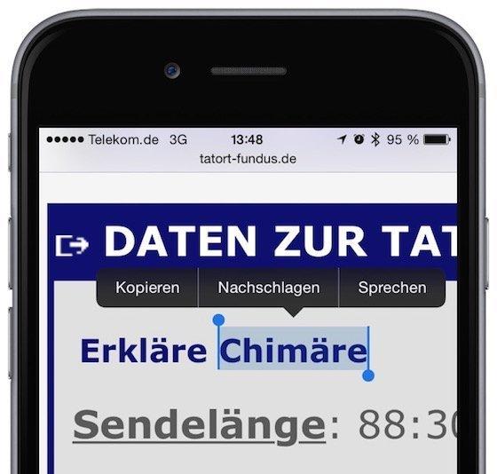 iPhone Safari Wort nachschlagen Wörterbuch Lexikon Hilfe 1