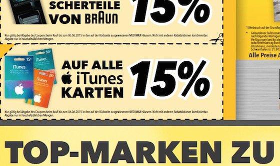 iTunes-Karte Geschenkkarte Rabatt Angebot Medimax