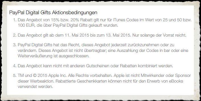 iTunes Rabatt PayPal Prozent Apple