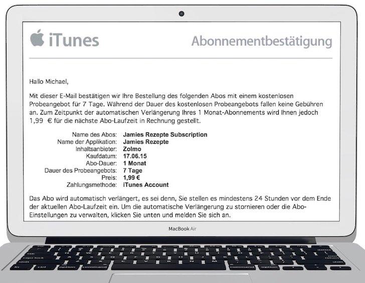 Abo Abonnement iTunes verlängern verwalten kündigen Jamie Oliver App iTunes Karten PayPal Kreditkarte App Store 1