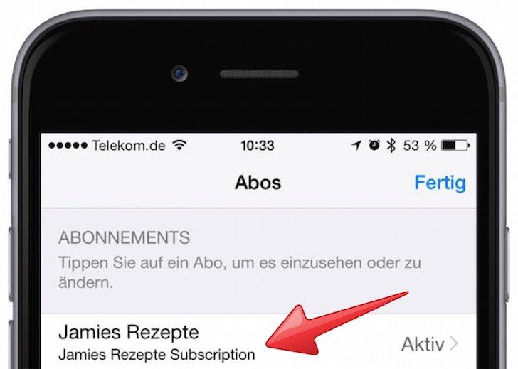 Abo Abonnement iTunes verlängern verwalten kündigen Jamie Oliver App iTunes Karten PayPal Kreditkarte App Store 5