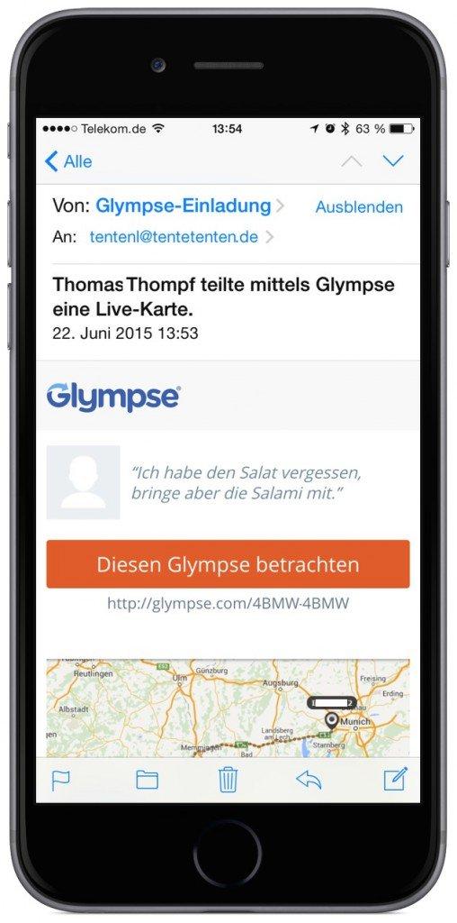 Glympse Standort versenden Live GPS Geschwindigkeit Position teilen sharen Mac übertragen 1