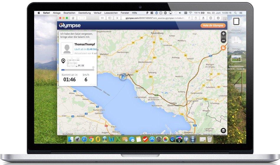 Glympse Standort versenden Live GPS Geschwindigkeit Position teilen sharen Mac übertragen 4