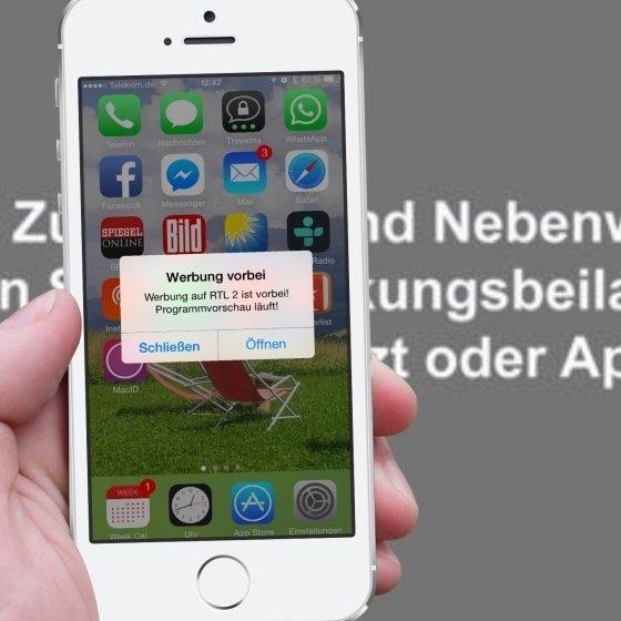 TV Werbung Werbeblock Unterbrechung überspringen vorbei App iPhone Apple Watch Android Smartphone 2neu