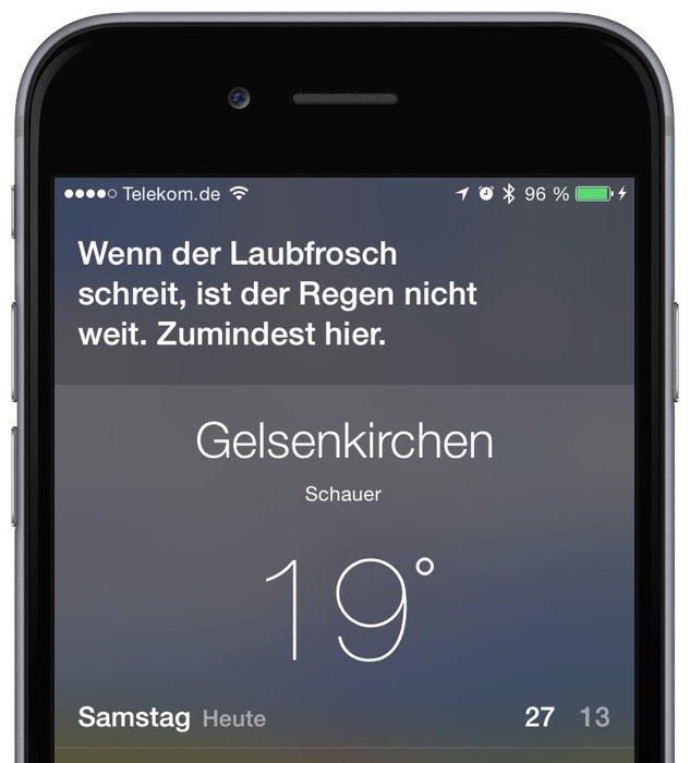 iPhone Apple Siri Wetter Vorhersage Regen Schnee Schirm Luftfeuchtigkeit Temperatur Schneehoehe 3