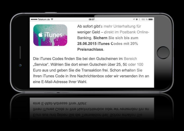 iTunes-Guthaben-Rabatt-Geschenk-Postbank-online-App-Store-günstiger-Rabatt
