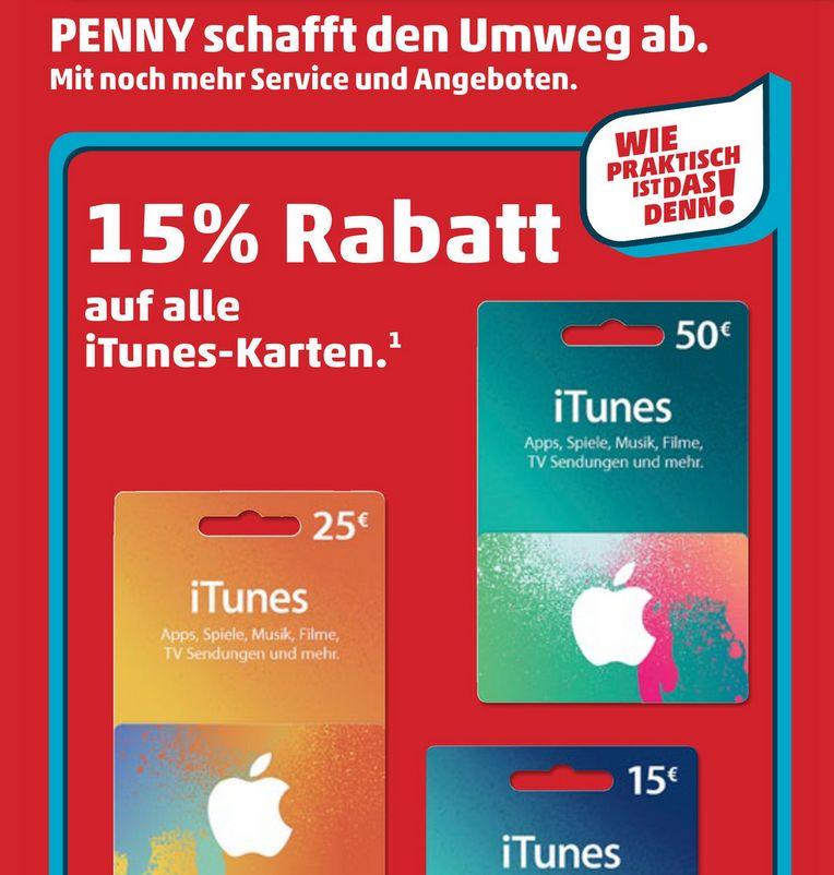 iTunes Karten Geschenkkarten Penny Rabatt Prozente