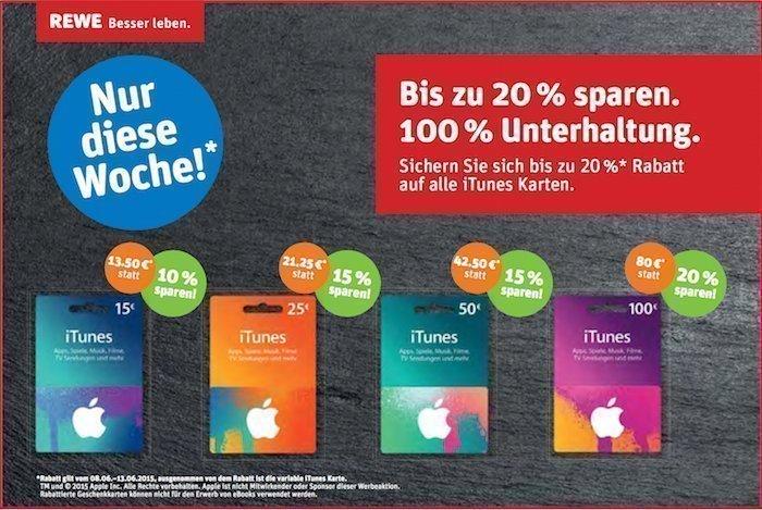 iTunes Karten Geschenkkarten REWE Rabatt Prozent