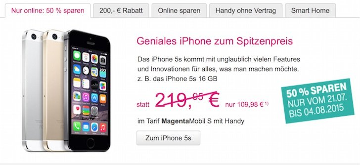 T-Mobile 50 Prozent iPhone 5s Magenta Mobil L M S