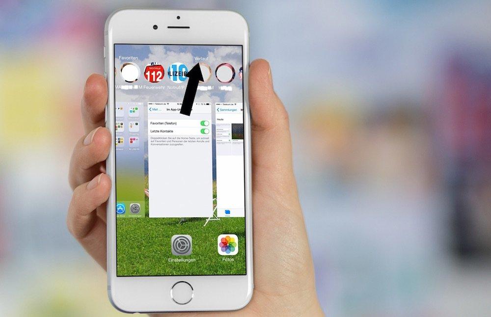 iOS 8 Doppelklick auf Homebutton zeigt Verlauf
