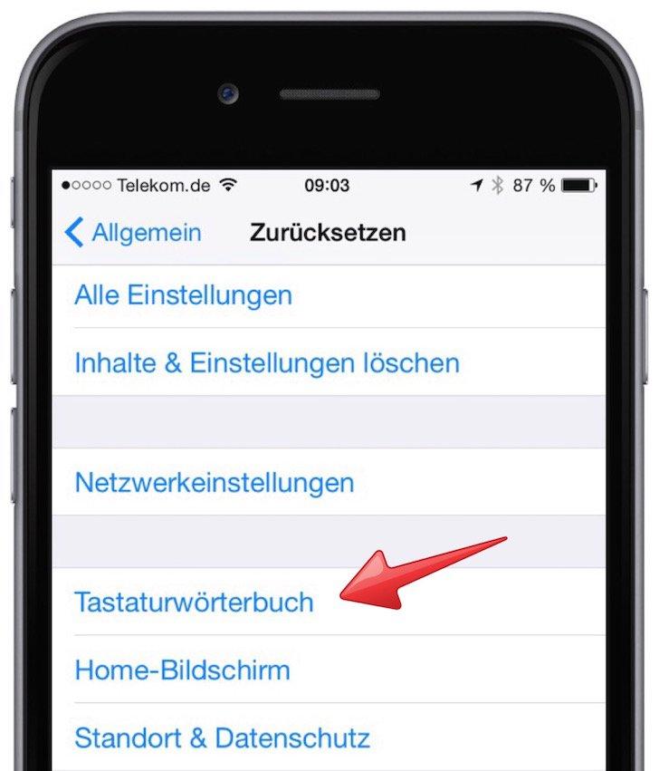 iPhone Wörterbuch ergänzen eigene Begriffe Autokorrektur verbessern Wörterbuch löschen 3