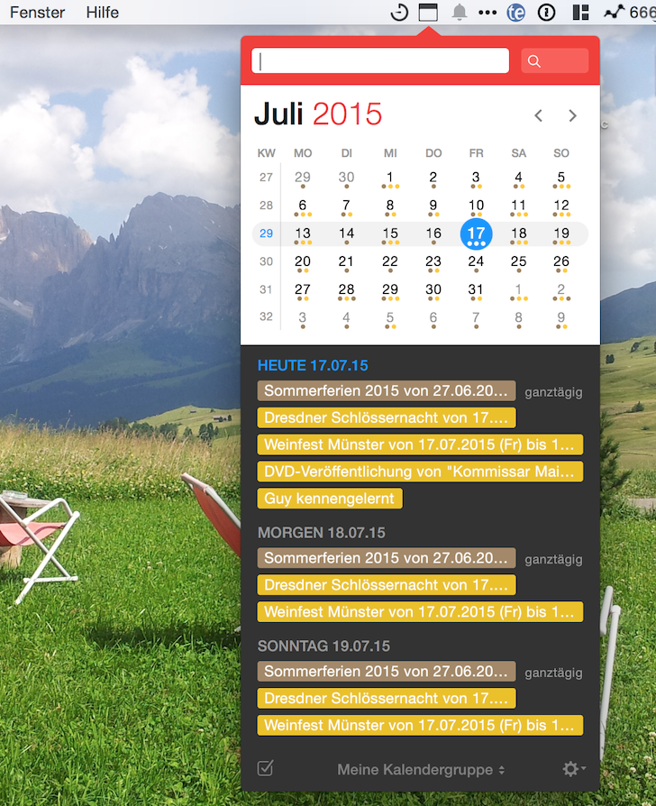 iPhone iPad Kalender Fantastical 2 Apple Flexibits Michael Simmons Termine Handoff Menüleiste 1