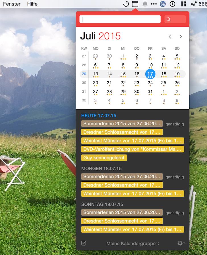 iPhone iPad Kalender Fantastical 2 Apple Flexibits Michael Simmons Termine Handoff Menüleiste 1