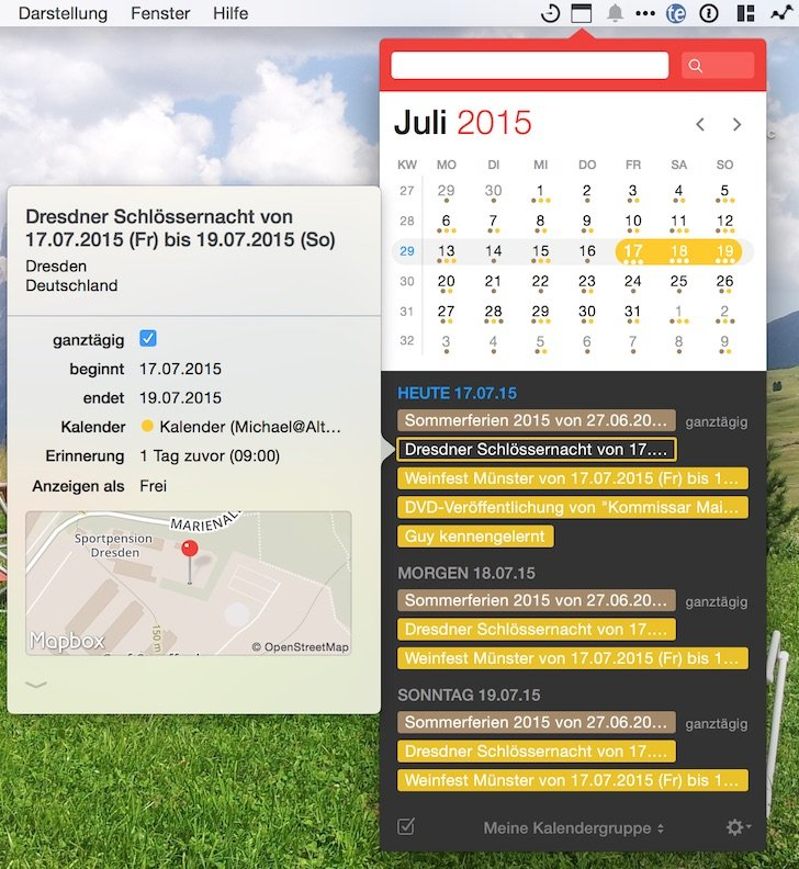 iPhone iPad Kalender Fantastical 2 Apple Flexibits Michael Simmons Termine Handoff Menüleiste 2