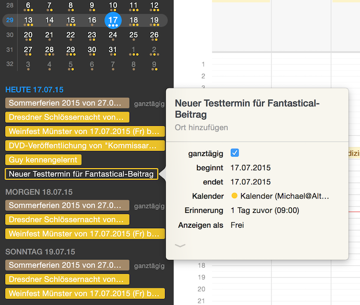 iPhone iPad Kalender Fantastical 2 Apple Flexibits Michael Simmons Termine Handoff Menüleiste 5