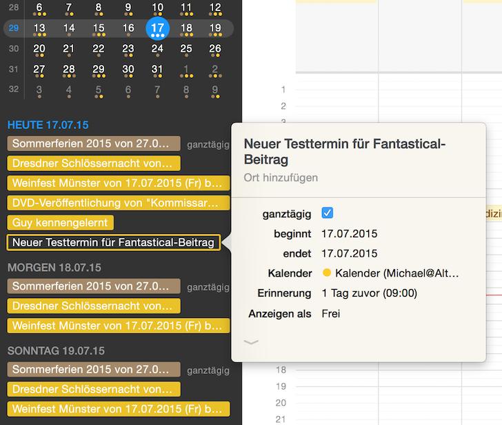 iPhone iPad Kalender Fantastical 2 Apple Flexibits Michael Simmons Termine Handoff Menüleiste 5