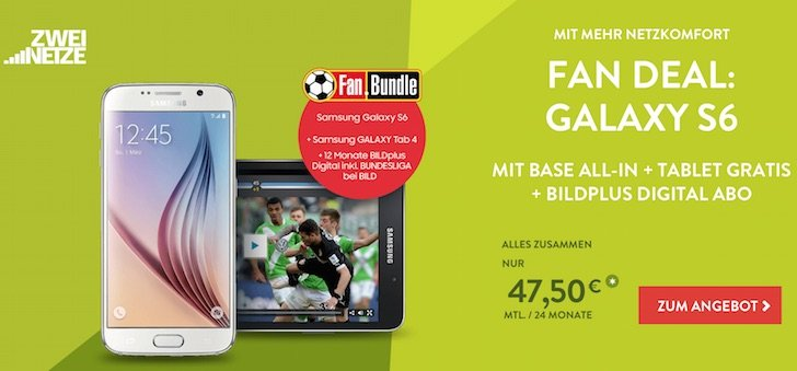 BASE E-Plus Fan Bundle Galaxy S6 Amazon BILD+ BILDplus Fussball Bundesliga 2