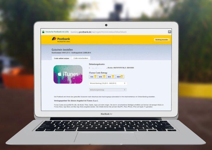 Postbank kostenloses Konto Kontoführung dauerhaft kostenlos iTunes aufladen 3