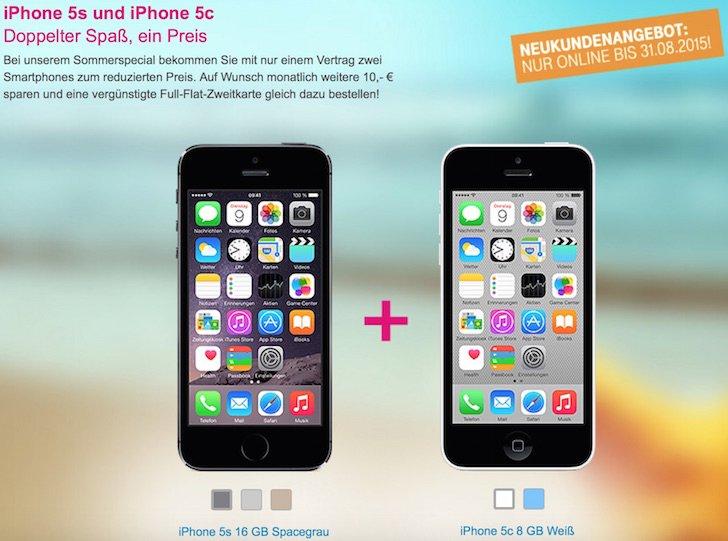 Telekom T-Mobile Sommeraktion iPhone 5s iPhone 5c Sonderpreis LTE Tarif MagentaMobil L mit Top-Handy 1