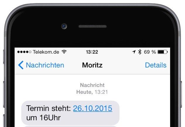 Termin aus iPhone-E-Mail erstellen SMS Threema WhatsApp iMessage Nachricht 2