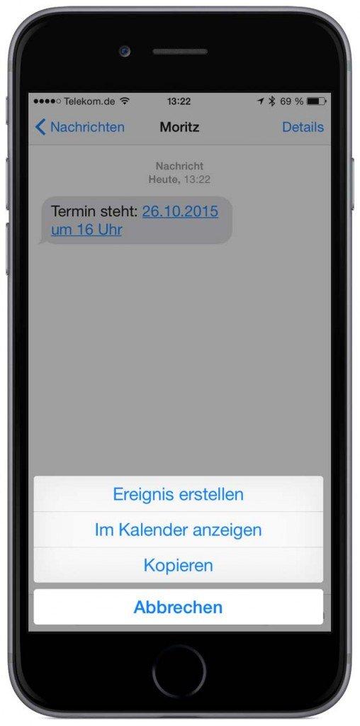 Termin aus iPhone-E-Mail erstellen SMS Threema WhatsApp iMessage Nachricht 3