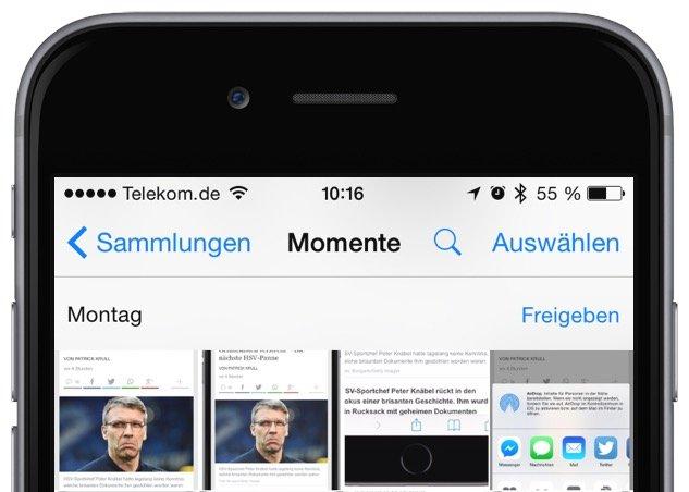 iPhone Foto Photo löschen delete Sammelbefehl alle einzeln Trick Momente markieren 7