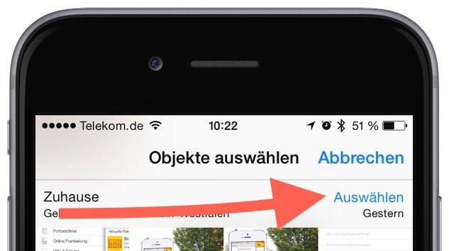 iPhone Foto Photo löschen delete Sammelbefehl alle einzeln Trick Momente markieren 8