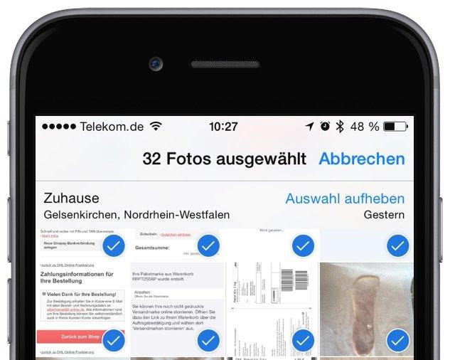 iPhone Foto Photo löschen delete Sammelbefehl alle einzeln Trick Momente markieren 9