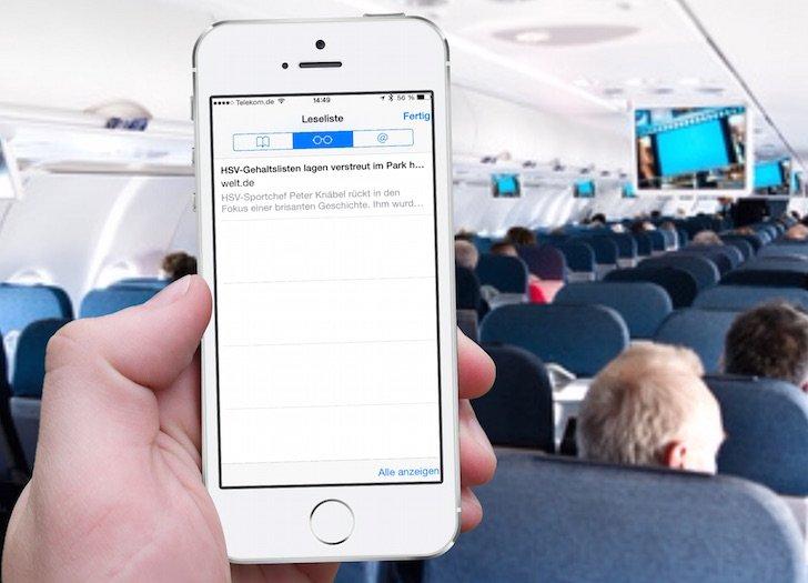 iPhone Safari Internet Browser Artikel Beitrag offline lesen Leseliste Lesezeichen Favorit Flugzeug Flugmodus 1