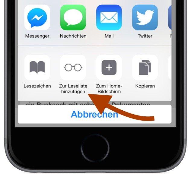 iPhone Safari Internet Browser Artikel Beitrag offline lesen Leseliste Lesezeichen Favorit Flugzeug Flugmodus 3