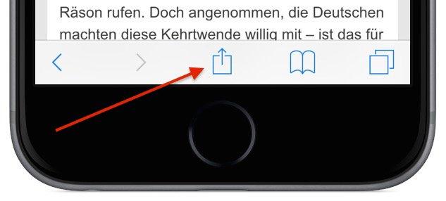 iPhone Teilen empfehlen versenden Safari Aktion 1