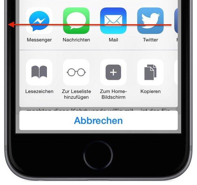 iPhone Teilen empfehlen versenden Safari Aktion 2