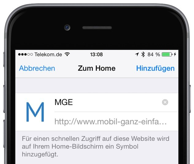 iPhone Website als Icon am Homescreen anzeigen 4